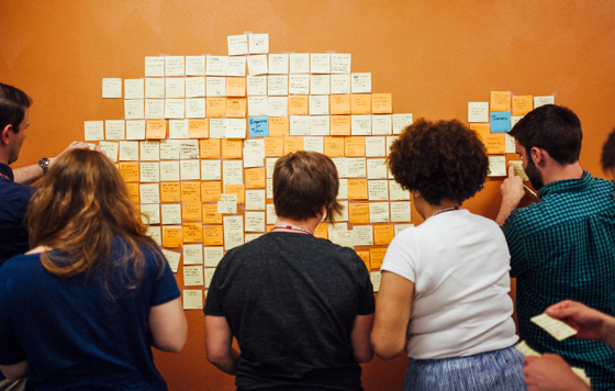 Students using sticky notes