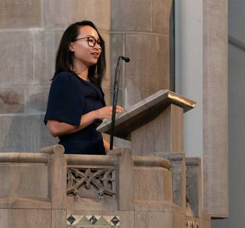 In Aims of Education address, Kimberly Kay Hoang discusses joy of intellectual community